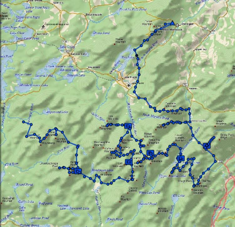 The finished route as tracked by the Delorme