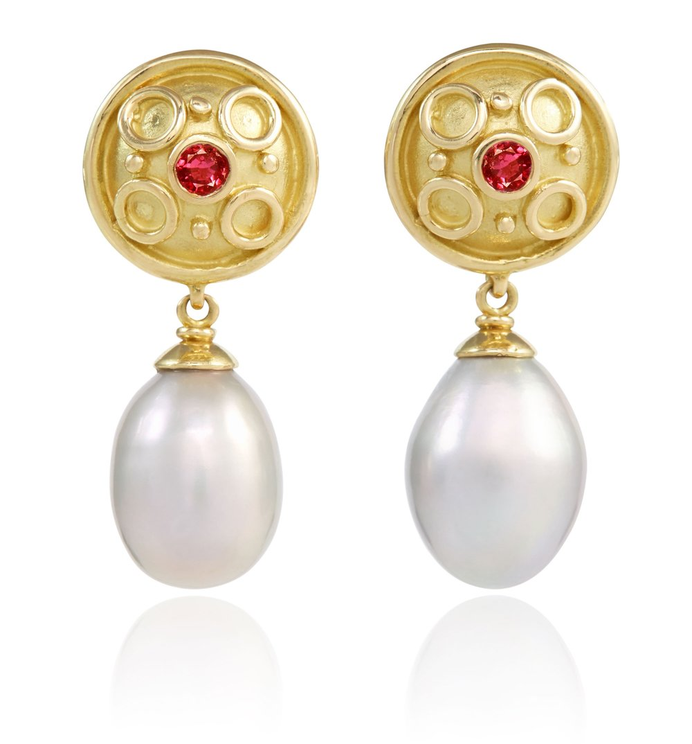 SARA YELLOW GOLD RUBY PEARL DROP EARRINGS