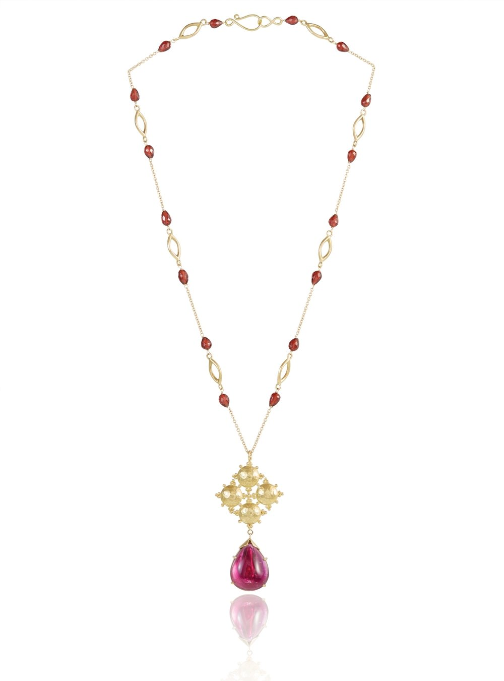 LIZZIE PENDANT RUBELITE DROP NECKLACE