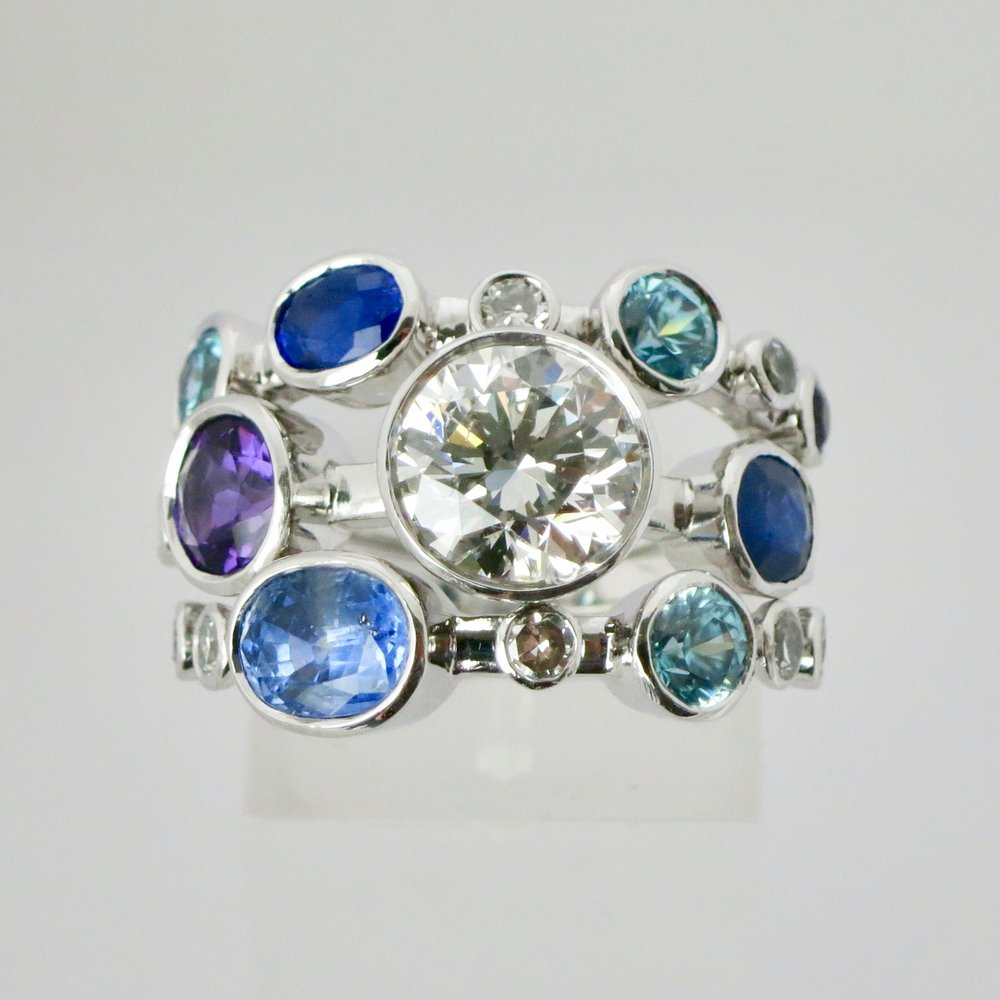 Triple mix diamond, sapphire & amethyst ring.jpeg