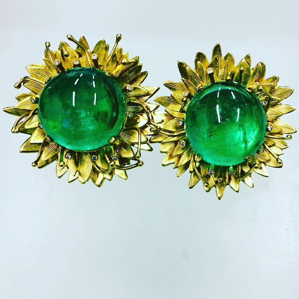 Cabochon emerald & diamond flower earrings.jpeg