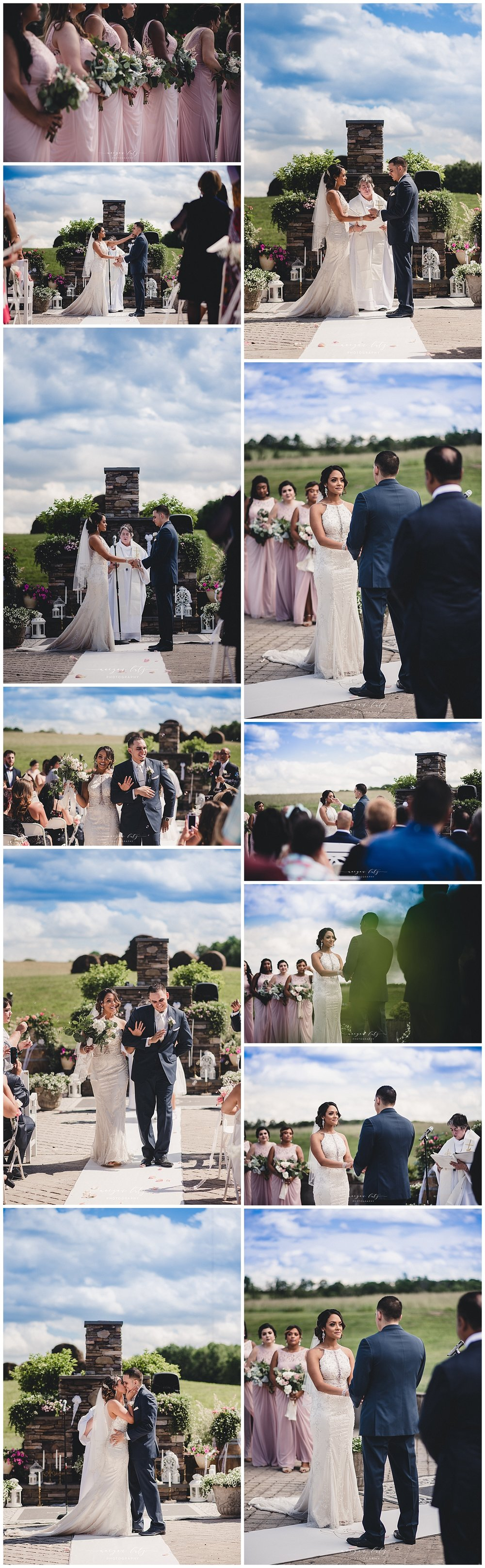 Outdoor ceremony by Williamsport Photographer at Wedding at the Barn at Glistening Pond, Falls PA
