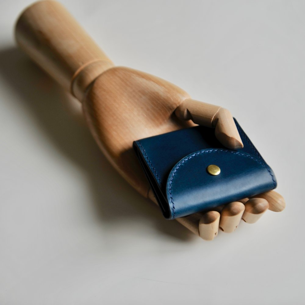 buttoned card case blue