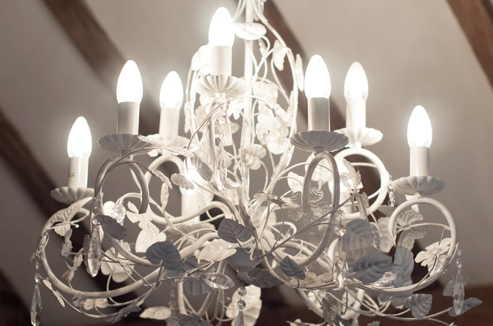 A stunning crystal chandelier enhanced the dining room in this house on the Chelsea and Fulham borders in London.