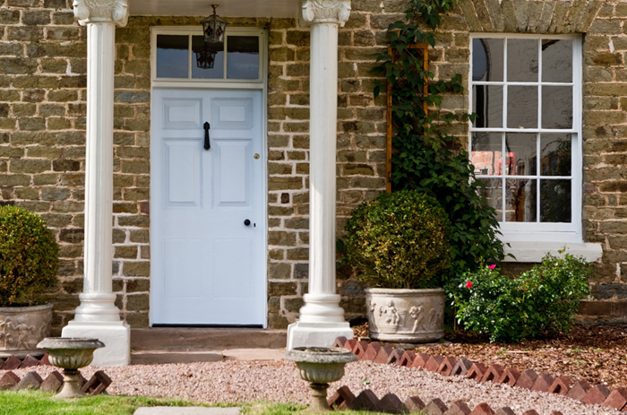 This entrance was completely renovated in Gloucestershire. We sourced old pillars from a reclamation yard. What an enjoyable project!  Our clients were so pleased.