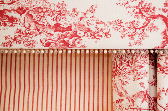 Toile de jouy drapes and blinds were made to match the Oak, four poster bed