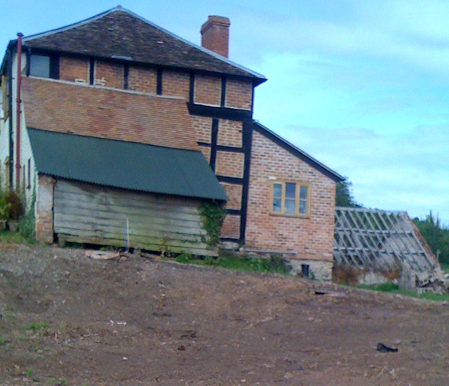 The space at the side of the house where the conservatory is to be built