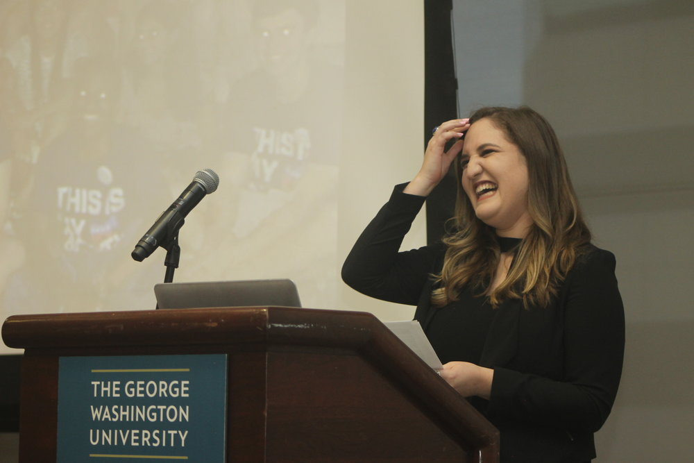 Jazmin speaking at College Democrats GBM.JPG