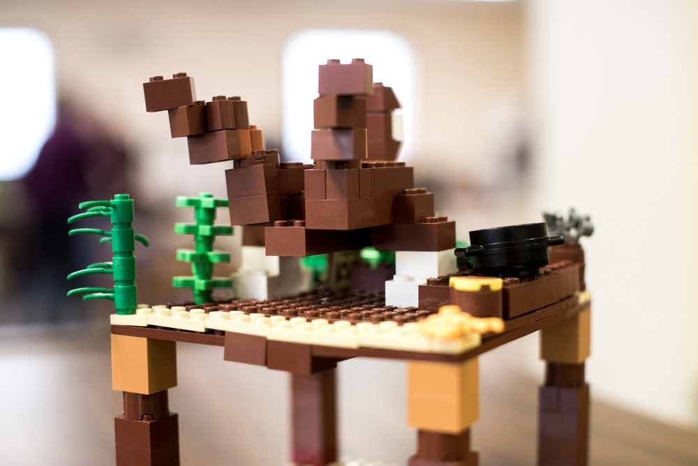 Lego creations made by grade schoolers are part of the hands-on programming that the library provides to the community.