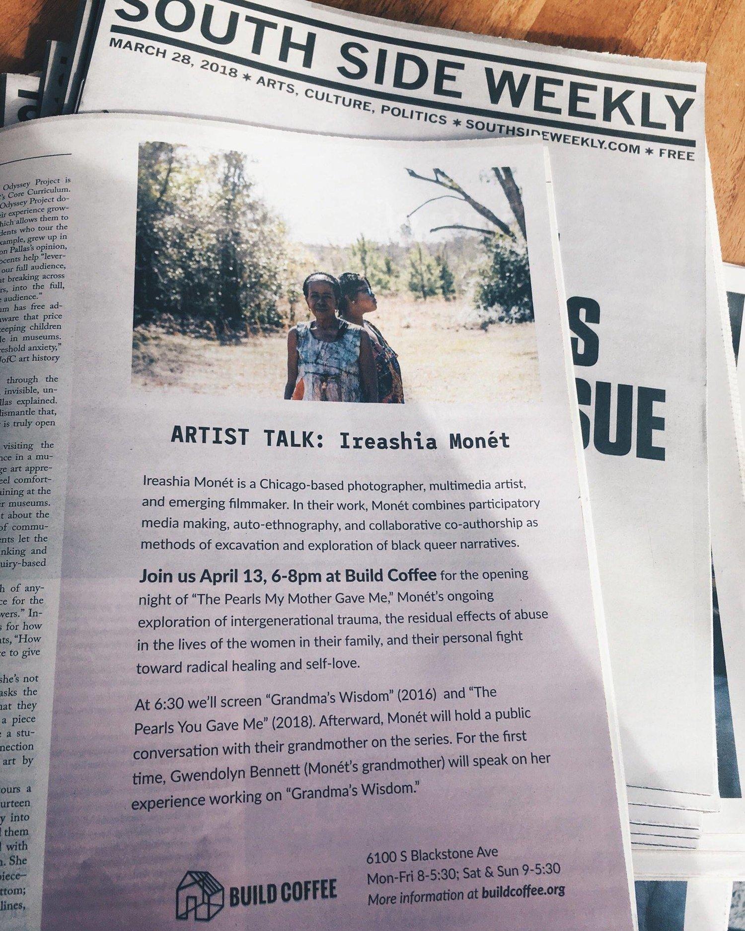 Artist Talk with Ireashia Monét at Build Coffee -- April 13