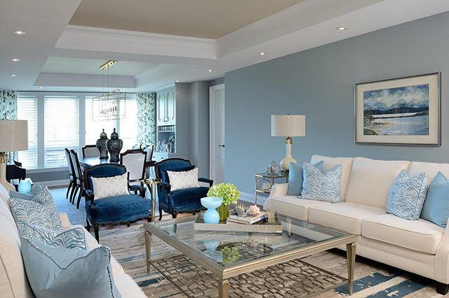 Beautiful in Blue, our clients home feels calm, serene & sophisticated. #interiors by #GlenAndJamie #pelosoalexanderinteriors #pelosoalexanderfurniture