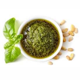 4 WAYS TO USE YOUR PESTO OLIVE OIL - 1. Pesto MeatballsMix 1 pound ground turkey (or ground beef) with 1/2 cup of breadcrumbs and 1/4 cup of pesto. Add 1/4 cup milk and 1/4 cup of grated Parmesan. Form into small balls. Cook in a nonstick skillet with Pesto Olive Oil for 10 to 12 minutes.2. Pesto Burgers Make Pesto Meatballs (No. 1) but form into patties and grill. Toast ciabatta rolls with Pesto Olive Oil. Add mozzarella, tomato and arugula.3. Pesto Pizza Split a loaf of French bread and brush with Pesto Olive Oil. Top with capicola, shredded mozzarella and grated Parmesan. Broil until the cheese melts.4. Mix Pesto Olive Oil with freshly shredded Parmesan Cheese and coarse black pepper. Great for dipping!