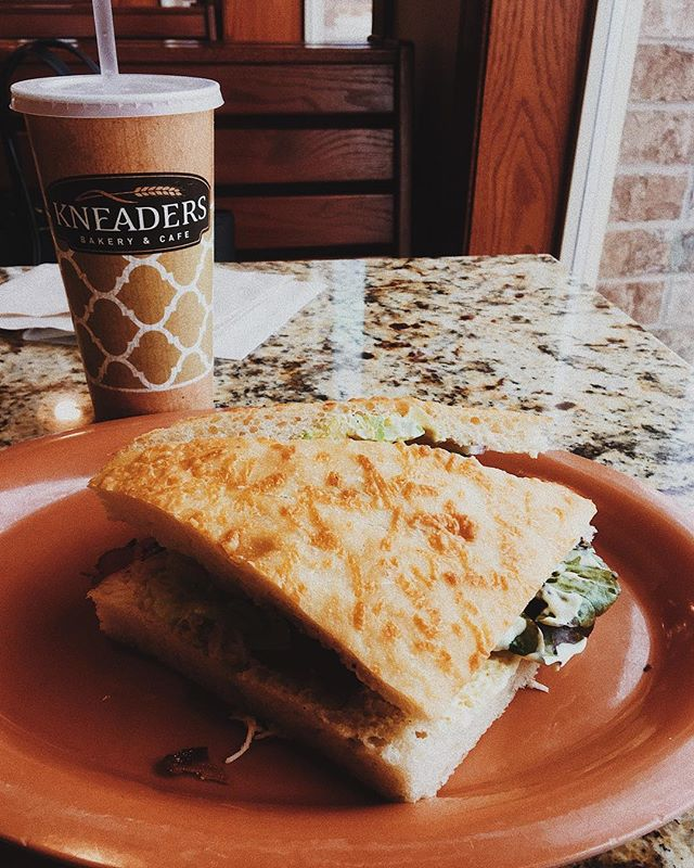 After a productive trip to LA this was a much needed lunch! I got my usual turkey bacon avocado on focaccia sandwich! Sooo good!  #lfthx #kneaders #kneadersbakery #organicad #kneaderscentennial