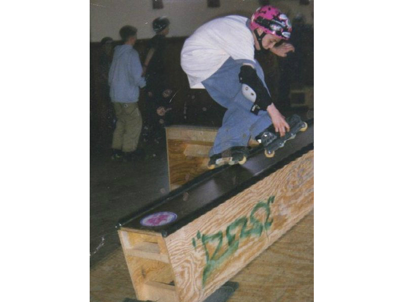 "Pictured: Conor backsliding as a youth in a small makeshift skate park his Dad ran in Dublin. (1996) ""It was in an old Church hall we rented on the weekends. We assembled the ramps in the morning and stored them at night. My Dad got the Jaggers Dad to build the ramps."""