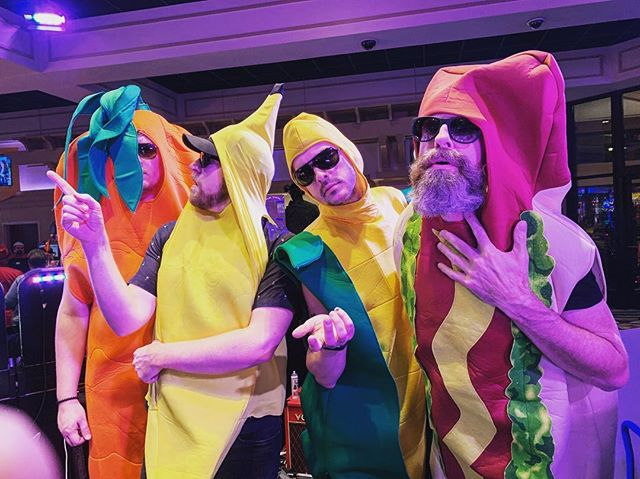 "Sup. We're a band called ""Food Fight."" . . . . . . #foodfight #coverband #party #casinoshow #junkfm #carrot #banana #cornonthecob #hotdog #things #stuff #wtf #littlesix #lifeisweird #jackpot #halloween #halloweencostume #groupcostume #happyhalloween🎃"