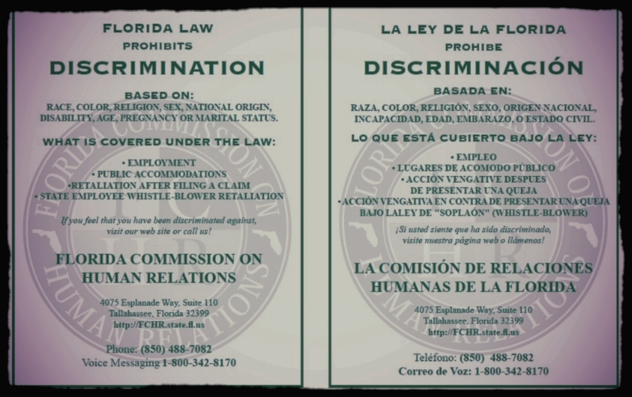This poster provides the federal changes/supplements/additions to the anti-discrimination laws featured on the national EEOC poster and FCHR contact information in both English and Spanish.