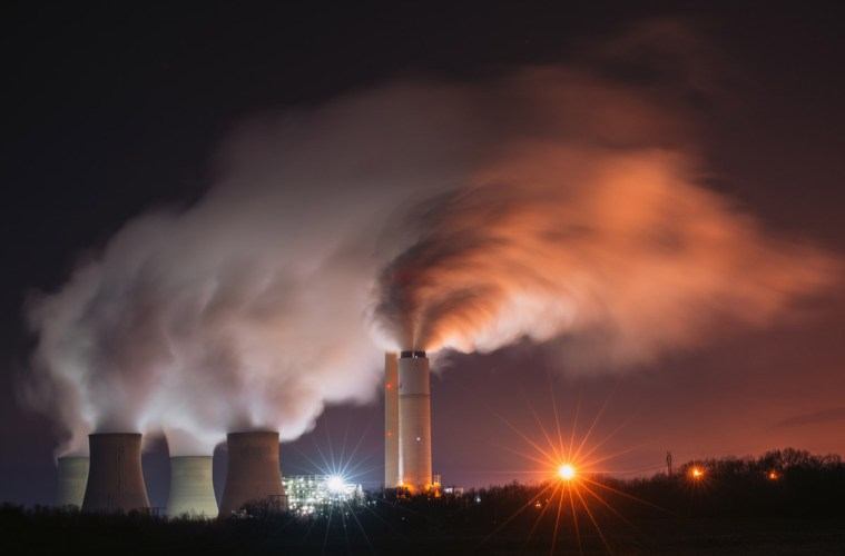 A nighttime view of the Keystone Generating Facility, a coal-fired power plant in southwestern Pennsylvania. Photo: Zach Frailey / Uprooted Photographer