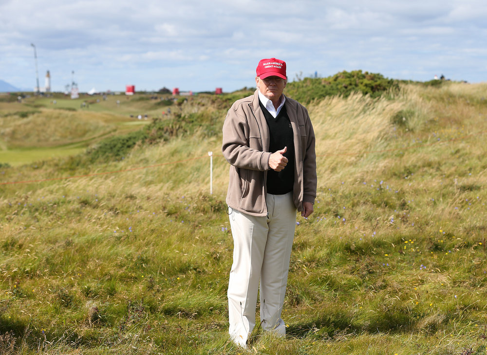 Candidate Donald Trump on the Turnberry golf course in Scotland. (AP Photo/Scott Heppell)
