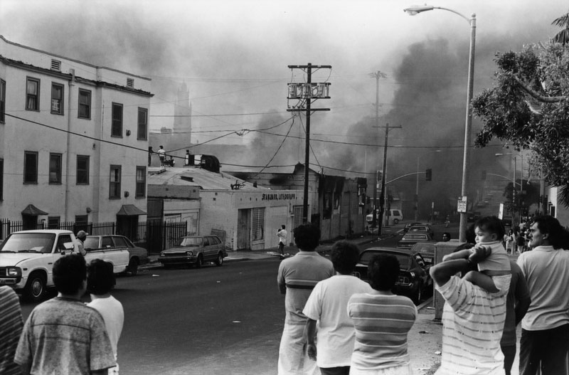 residents watch smoke and fires during 1992 unrest. source: LAPL Gary Leonard collection