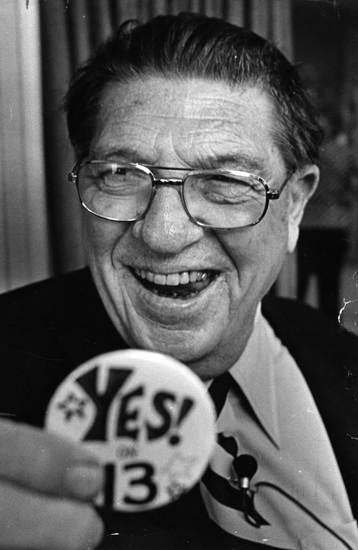 Key Prop 13 supporter Howard Jarvis, image from Los Angeles Public Library