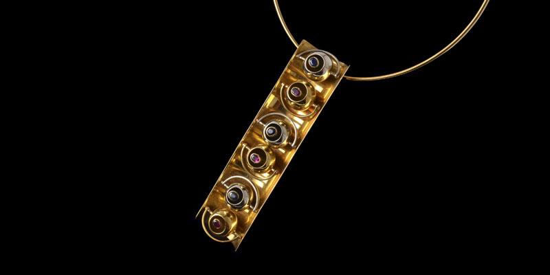 Giorgio Facchini Gold, Ruby and Sapphire Pendant