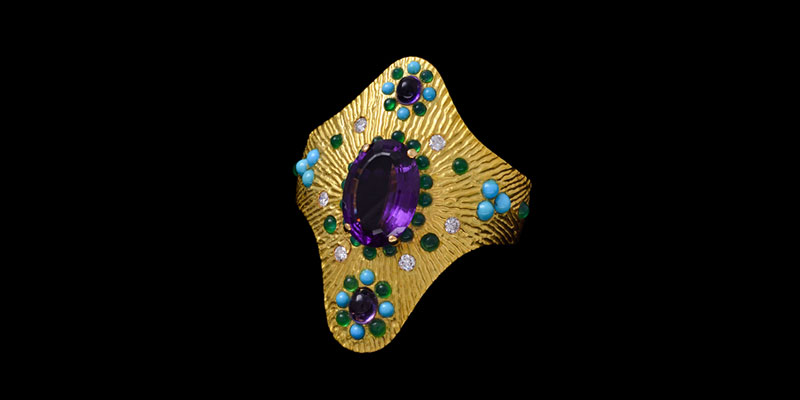 Boucheron Gold and Multi-Gem Cuff