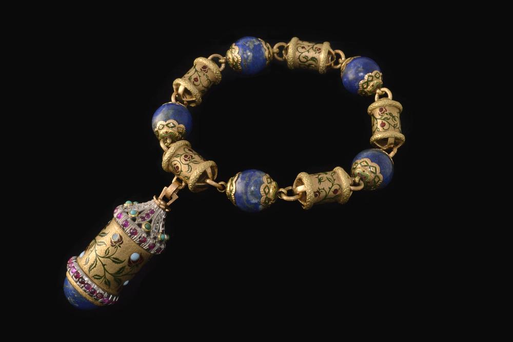 Cazzaniga lapis bead and enamel bracelet, circa 1960s