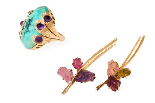L to R: Italian cocktail ring,Jean Dinh Van earrings