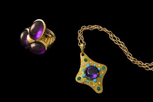 L to R: David Webb ring and Boucheron pendant