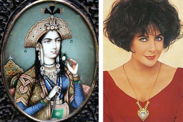 Counterclockwise from top, Nur Jahal; Mumtaz Mahal; and Elizabeth Taylor wearing the Taj Mahal Diamond