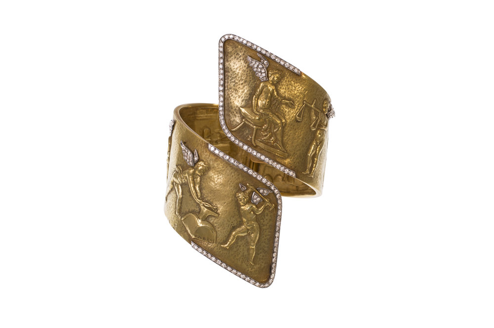 18k hammered gold and diamond hinged cuff, by Farkas