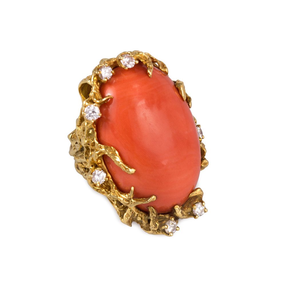 A Cabochon Coral, Diamond and Textured 18k Gold Ring, by Arthur King, c. 1970s. Size 7 1/2