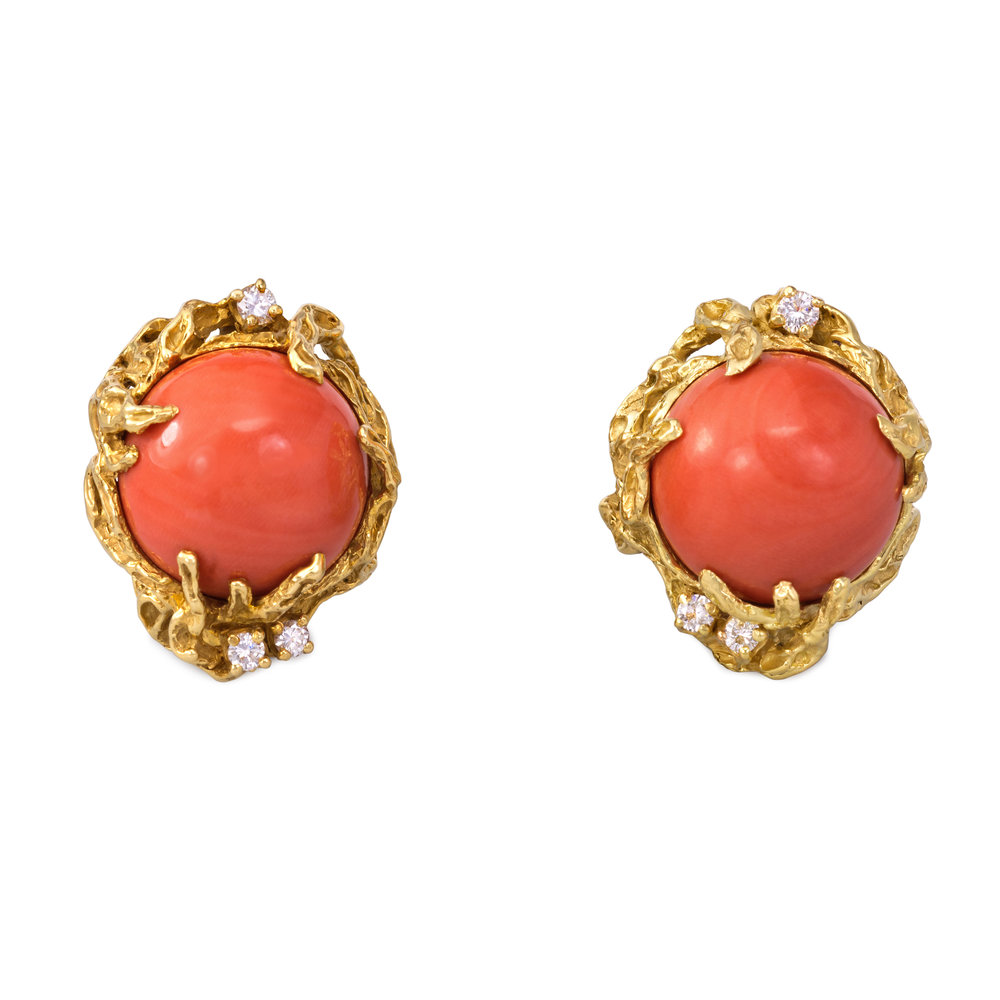 A Pair of Cabochon Coral, Diamond and 18k Gold Ear Clips, by Arthur King, c. 1970s