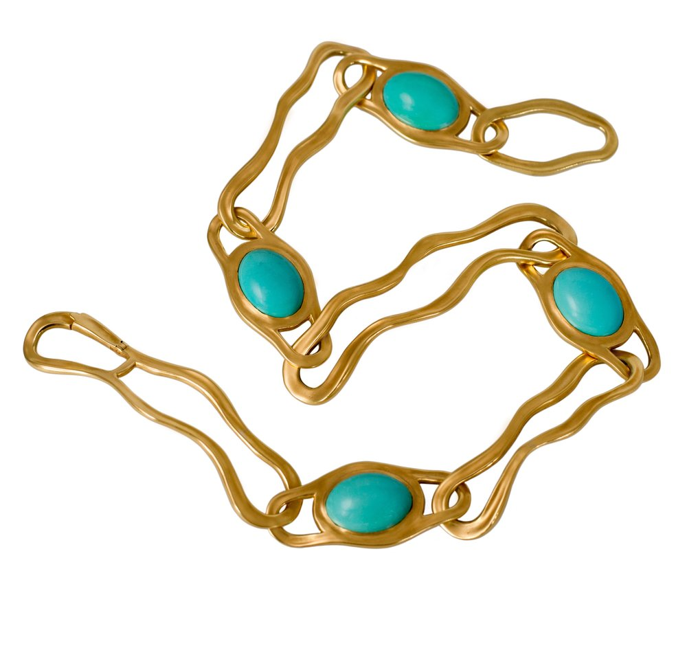 Turquoise & 18k Gold Necklace, Angela Cummings for Tiffany & Co., 1982
