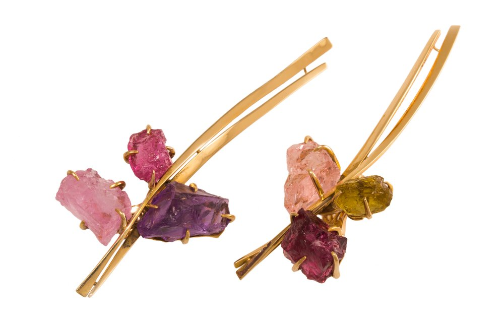 Amethyst, Peridot, Tourmaline and 18k Gold Ear Clips, Dinh Van, c. 1970s