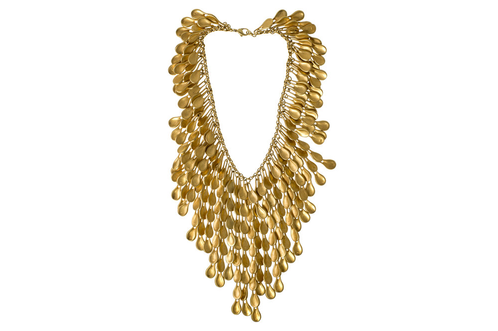 24k Gold Plated Waterfall Necklace, Robert Lee Morris, 1989