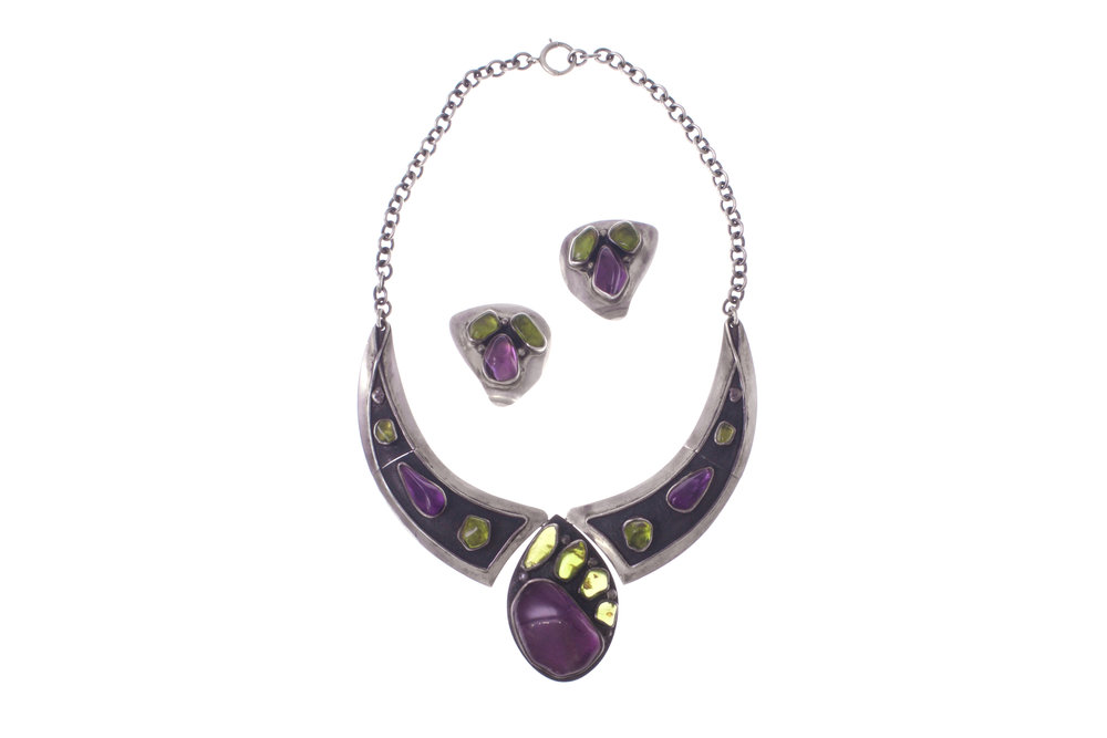 Amethyst, Peridot, Silver Necklace & Earrings, H. Fred Skaggs, c. 1960s