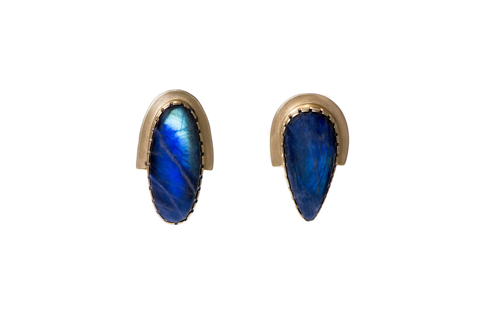 A pair of labradorite and 18k gold earrings, by Gail Bird & Yazzie Johnson, Santo Domingo/Laguna & Navajo.