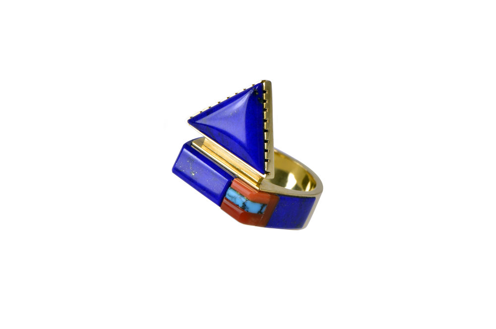 An inlaid coral, lapis lazuli, turquoise and 14k gold ring, by Richard Chavez, San Felipe Pueblo, c. 1990s.
