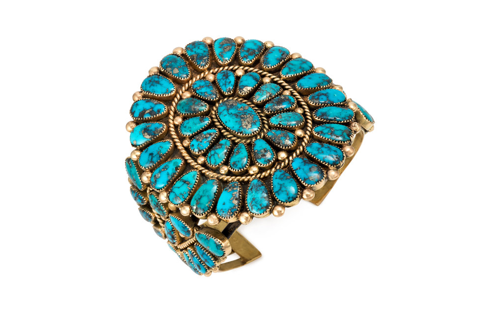 A Morenci turquoise and 14k cuff cluster bracelet, by Alice Quam, Zuni, c. 1980s.