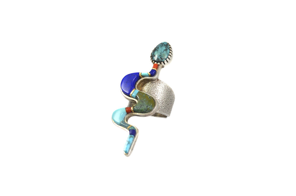 Coral, lapis lazuli, turquoise, sterling silver and  gold snake ring, by Sonwai, c. 2013.