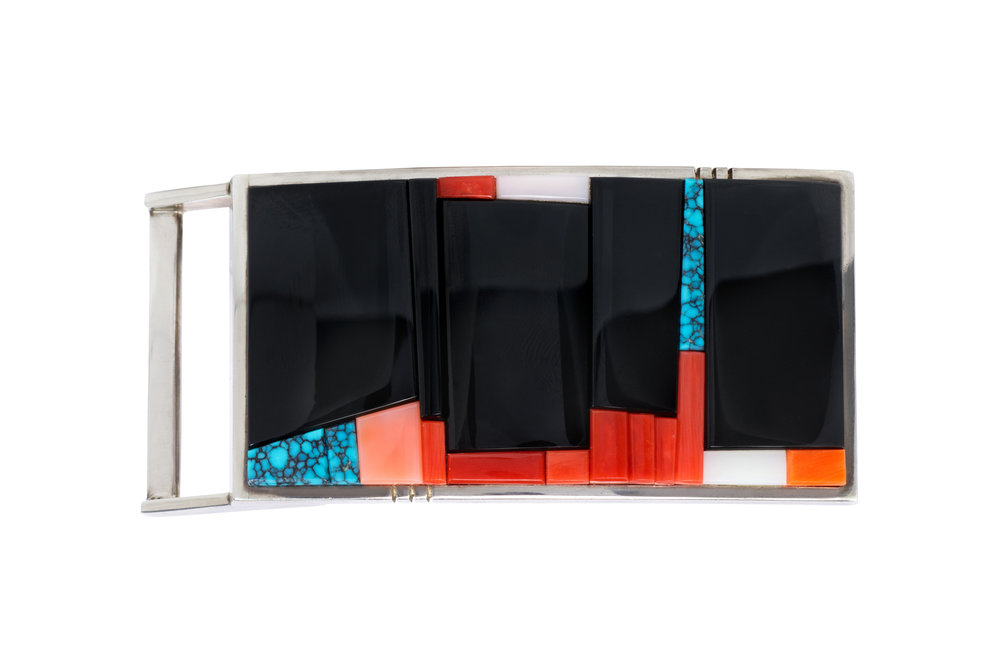 An onyx, coral, turquoise, shell and sterling silver belt buckle, by Richard Chavez, 2006