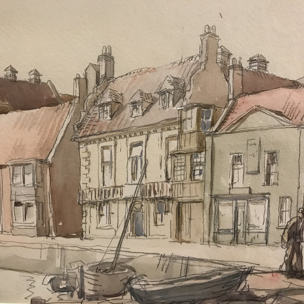 The Quay, Wells-next-the-Sea, Norfolk, 1923 (detail) by Harry Morley.  Watercolour and pencil.  Morley studied architecture at the RCA and took up painting while on a scholarship in Italy.  He illustrated guides to Florence and Venice.  He is represented in the British Museum's Collection.