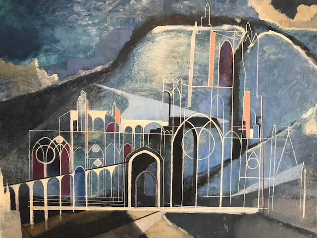 Church in Suffolk, c.1950 by Josselin Bodley (1893-1974).  Oil on board. He studied art in Paris and he focussed on architectural studies.  Here, in this rare Suffolk image, his architectural detailing is reminiscent of the work John Piper and the more gestural background of Paul Nash. SOLD