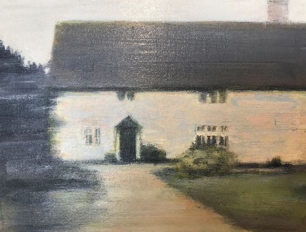 After (4), 2015 by Kate Sherman.  Oil on panel. Sherman's work originates from photographs she has taken of her surroundings (in this case a Suffolk cottage).  Her interest in the unpopulated landscape and muted palette create a quietness almost melancholic landscape.