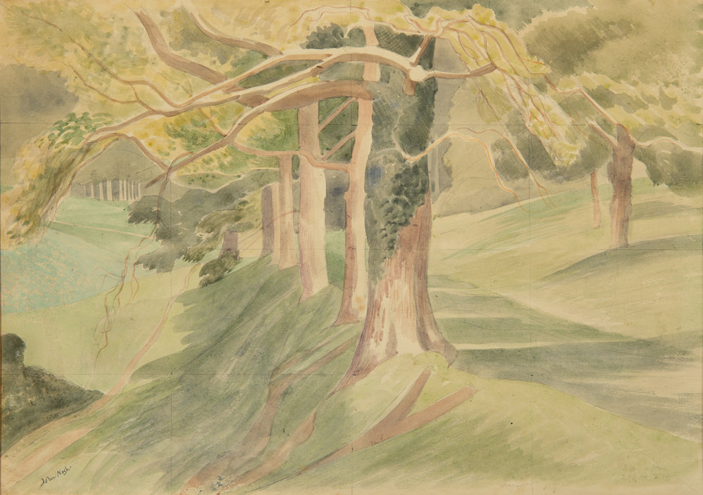 Paths in the Woodland, c.1950s. On taking up landscape painting after World War One, Nash often combined his love of botany with his art by painting trees and woodland. His watercolours were especially celebrated in capturing something quintessentially British in landscape and this jewel-like study demonstrates his skill with its vivid sense of depth and woodland light and colour. Details of subjects, colours and sizes inscribed in pencil with triangulation lines throughout the composition are suggestive that this is study although it is highly worked up and signed. This painting was exhibited at The Fine Art Society in 1969 and was purchased by a collector in New England, U.S.A. £3950.00