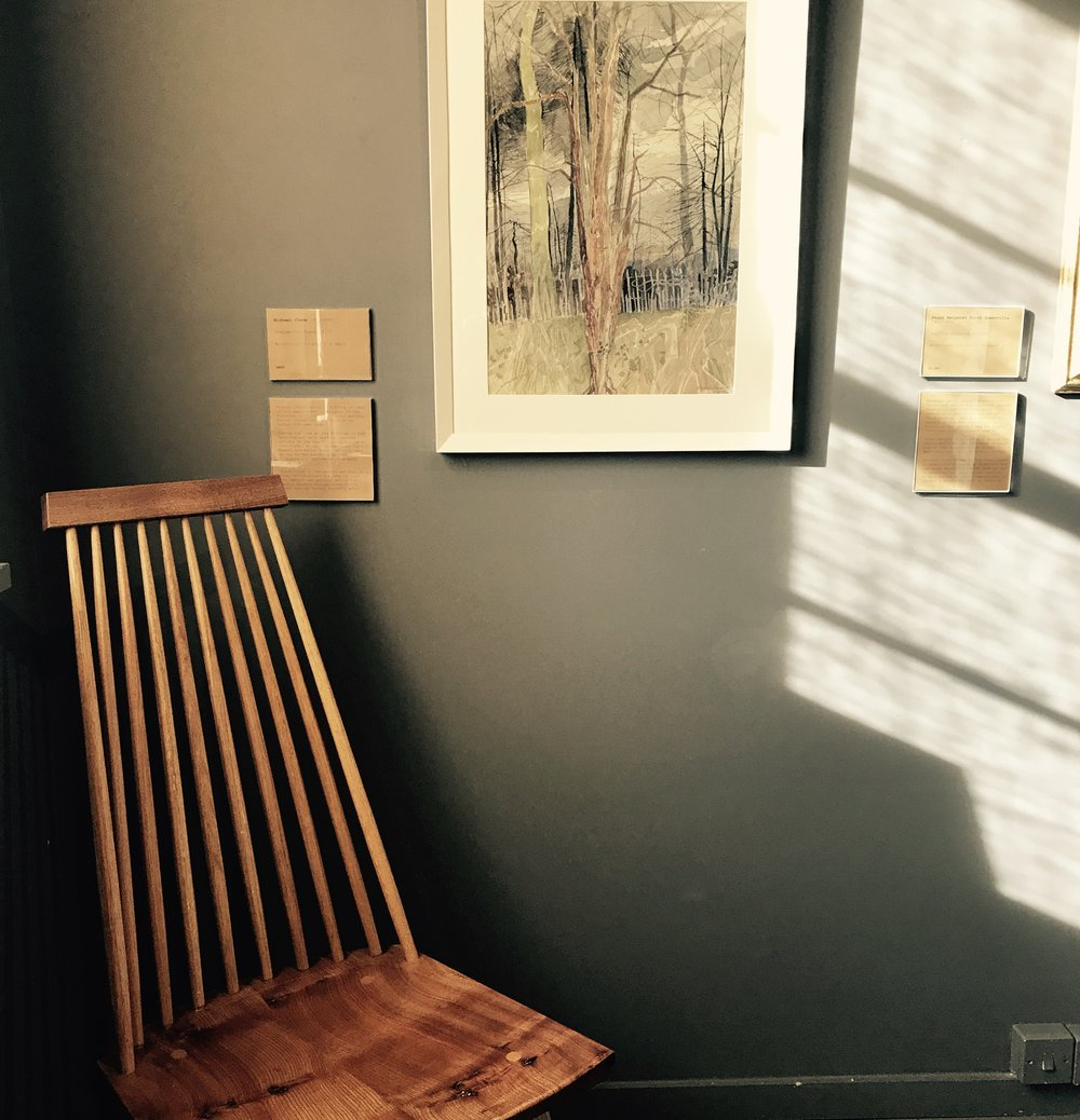 Comb-back Chair, 2017 by Among Trees Design.  English Elm and French oak. £950.00    Shown with Chelsworth Trees, 1977, by Michael Chase (1915-2001). Watercolour and pencil on paper.£850.00