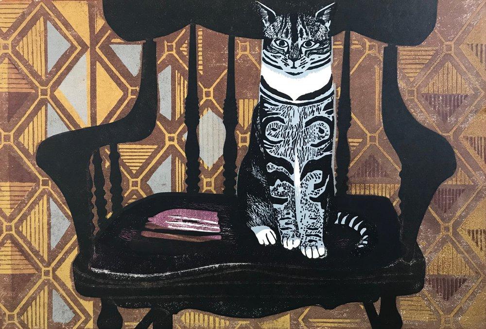 Above: Sheila Robinson. Cat, 1961. Linocut. SOLD