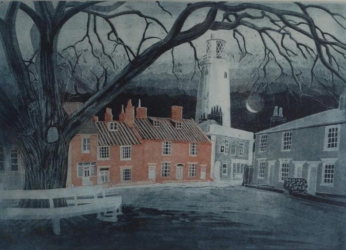 Richard Bawden: East Green, Southwold, 1984. Engraving & Aquatint. SOLD