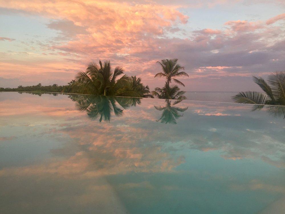 Sunset on the Infinity Pool -  - Tulum Luxury Villa Na'iik